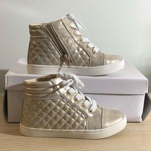 Report Girls Size 11 High Top Sneaker Gold